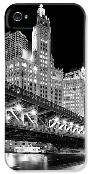 Clock iPhone 5 Cases - Wrigley Building at Night in Black and White iPhone 5 Case by Sebastian Musial