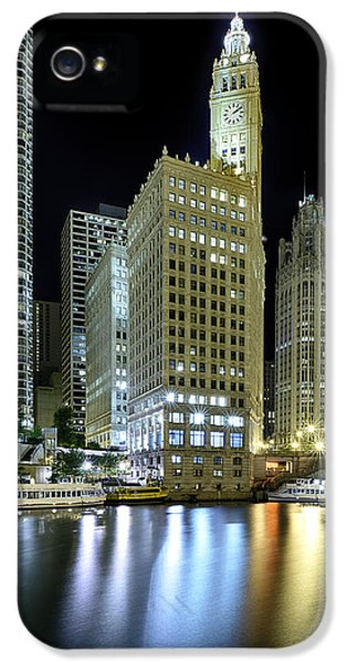 Illinois iPhone 5 Cases - Wrigley Building at Night  iPhone 5 Case by Sebastian Musial