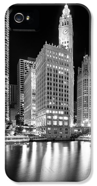 Wrigley iPhone 5 Cases - Wrigley Building Reflection in Black and White iPhone 5 Case by Sebastian Musial