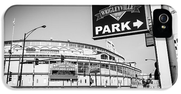 Wrigley Field iPhone 5 Cases - Wrigley Field and Wrigleyville Signs in Black and White iPhone 5 Case by Paul Velgos