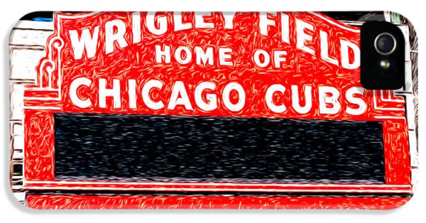 Ballpark iPhone 5 Cases - Wrigley Field Chicago Cubs Sign Digital Painting iPhone 5 Case by Paul Velgos