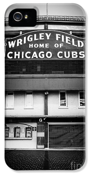 Ballpark iPhone 5 Cases - Wrigley Field Chicago Cubs Sign in Black and White iPhone 5 Case by Paul Velgos