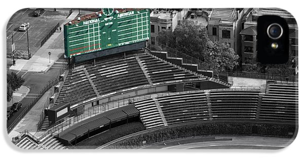 Central Division iPhone 5 Cases - Wrigley Field Chicago Sports 04 Selective Coloring iPhone 5 Case by Thomas Woolworth