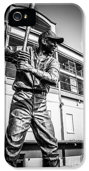 Ballpark iPhone 5 Cases - Wrigley Field Ernie Banks Statue in Black and White iPhone 5 Case by Paul Velgos