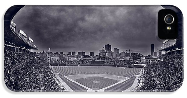 Cubs iPhone 5 Cases - Wrigley Field Night Game Chicago BW iPhone 5 Case by Steve Gadomski
