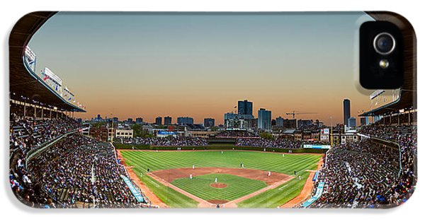 Wrigley iPhone 5 Cases - Wrigley Field Night Game Chicago iPhone 5 Case by Steve Gadomski