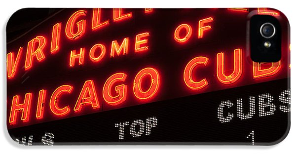 Wrigley Field iPhone 5 Cases - Wrigley Field Sign at Night iPhone 5 Case by Paul Velgos