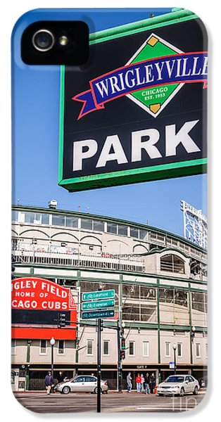 Wrigley Field iPhone 5 Cases - Wrigleyville Sign and Wrigley Field iPhone 5 Case by Paul Velgos