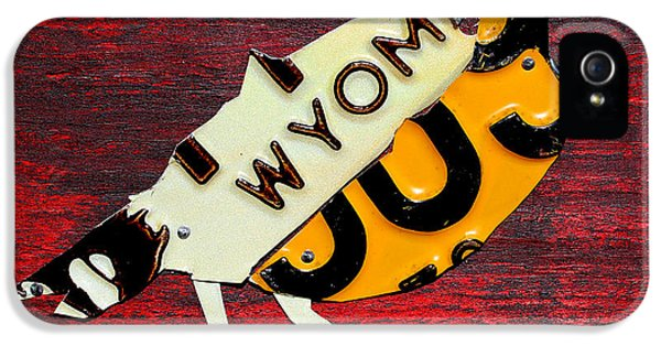 Wyoming Meadowlark Wild Bird Vintage Recycled License Plate Art IPhone 5 / 5s Case by Design Turnpike