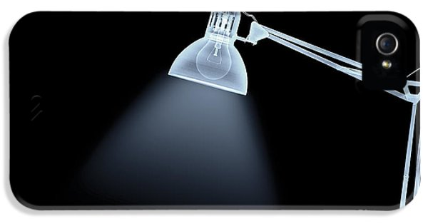 Filament (lightbulb) iPhone 5 Cases - X-ray of a lamp  iPhone 5 Case by Guy Viner