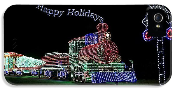 Central Il iPhone 5 Cases - Xmas Tree Train Happy Holidays iPhone 5 Case by Thomas Woolworth