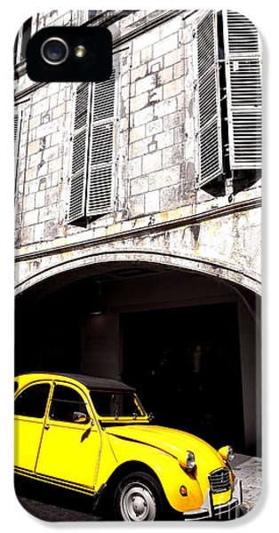 Restoration iPhone 5 Cases - Yellow Deux Chevaux in Shadow iPhone 5 Case by Olivier Le Queinec