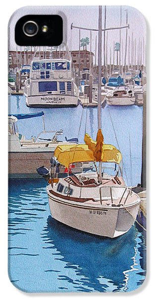 Yellow Sailboat Oceanside IPhone 5 / 5s Case by Mary Helmreich