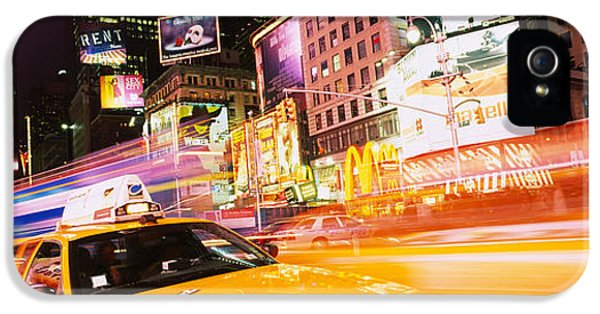 Yellow Taxi iPhone 5 Cases - Yellow Taxi On The Road, Times Square iPhone 5 Case by Panoramic Images