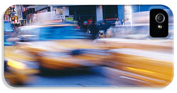 Yellow Taxi iPhone 5 Cases - Yellow Taxis On The Road, Times Square iPhone 5 Case by Panoramic Images
