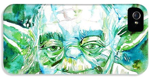 Yoda iPhone 5 Cases - Yoda Watercolor Portrait iPhone 5 Case by Fabrizio Cassetta