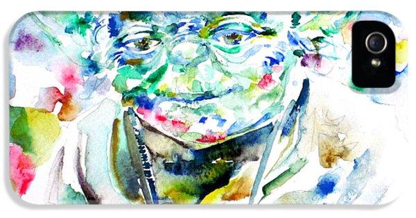 Yoda iPhone 5 Cases - YODA watercolor portrait.1 iPhone 5 Case by Fabrizio Cassetta