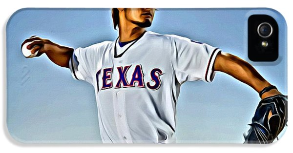 Texas iPhone 5 Cases - Yu Darvish Painting iPhone 5 Case by Florian Rodarte