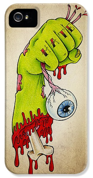 Eyeball iPhone 5 Cases - Zombie Hatred iPhone 5 Case by Samuel Whitton