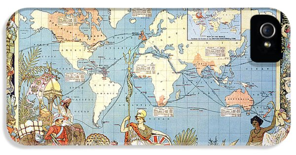 Arts And Crafts Movement iPhone 5 Cases - Map: British Empire, 1886 iPhone 5 Case by Granger