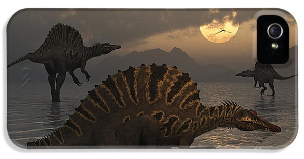 Roaming iPhone 5 Cases - A Group Of Spinosaurus iPhone 5 Case by Mark Stevenson