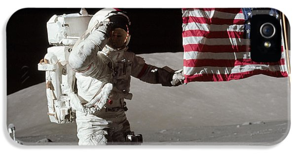 Space iPhone 5 Cases - Apollo 17 Astronaut Salutes The United iPhone 5 Case by Stocktrek Images