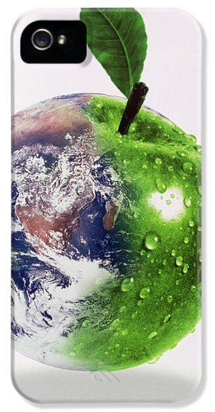 Gaia iPhone 5 Cases - Computer Artwork Of Half Earth And Half Apple iPhone 5 Case by Victor Habbick Visions