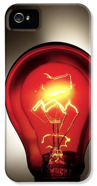 Filament (lightbulb) iPhone 5 Cases - Electric Lightbulb iPhone 5 Case by Tek Image