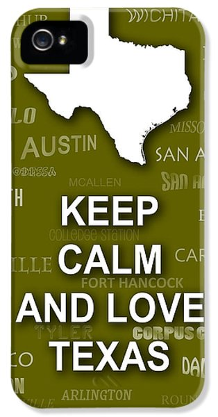 Angelo iPhone 5 Cases - Keep Calm and Love Texas State Map City Typography iPhone 5 Case by Keith Webber Jr