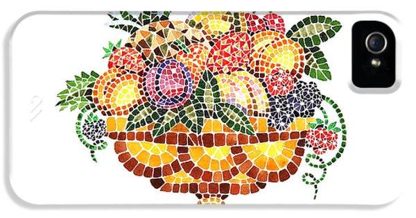 Mosaic iPhone 5 Cases - Mosaic Fruit Vase iPhone 5 Case by Irina Sztukowski