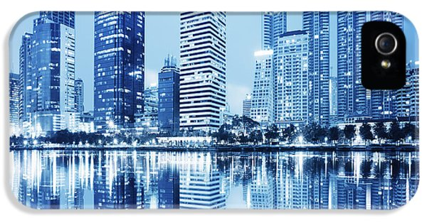Reflection iPhone 5 Cases - Night Scenes Of City iPhone 5 Case by Setsiri Silapasuwanchai