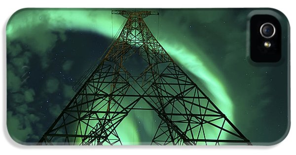 Electrical Component iPhone 5 Cases - Powerlines And Aurora Borealis iPhone 5 Case by Arild Heitmann