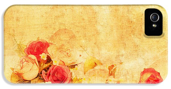 Roses iPhone 5 Cases - Retro Flower Pattern iPhone 5 Case by Setsiri Silapasuwanchai