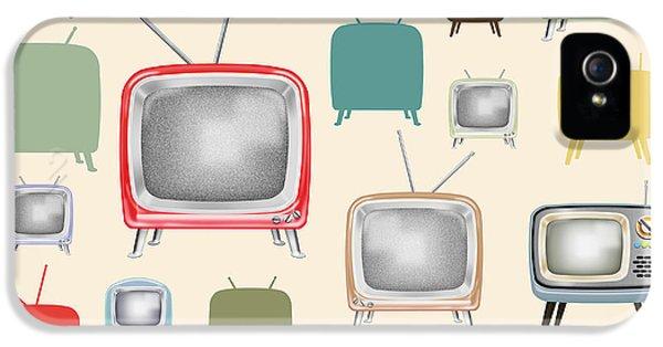 Electronic iPhone 5 Cases - retro TV pattern  iPhone 5 Case by Setsiri Silapasuwanchai