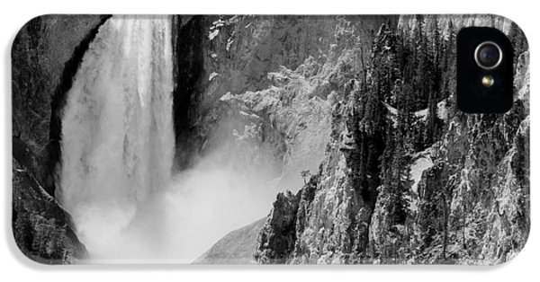Yellowstone Waterfalls In Black And White IPhone 5 / 5s Case by Sebastian Musial