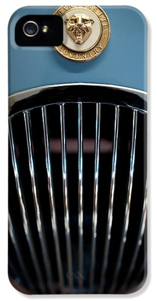 Old Cars iPhone 5 Cases - 1952 Jaguar Hood Ornament and Grille iPhone 5 Case by Sebastian Musial