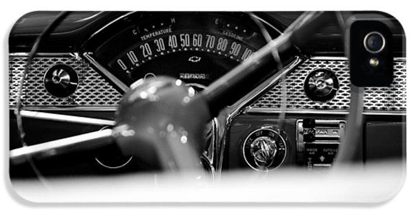 Cars iPhone 5 Cases - 1955 Chevy Bel Air Dashboard in Black and White iPhone 5 Case by Sebastian Musial