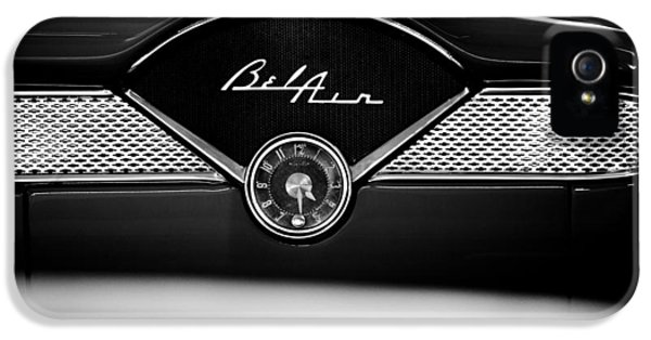 Old Cars iPhone 5 Cases - 1955 Chevy Bel Air Glow Compartment in Black and White iPhone 5 Case by Sebastian Musial