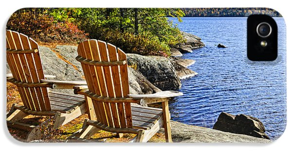Chair iPhone 5 Cases - Adirondack chairs at lake shore iPhone 5 Case by Elena Elisseeva