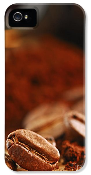 Still-life iPhone 5 Cases - Coffee beans and ground coffee iPhone 5 Case by Elena Elisseeva