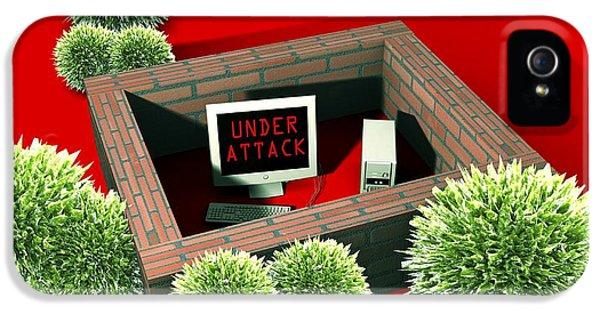 Firewall iPhone 5 Cases - Computer Virus Attack, Computer Artwork iPhone 5 Case by Christian Darkin