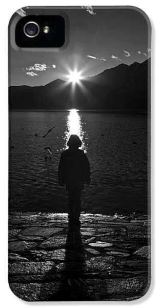Backlight iPhone 5 Cases - Girl With Sunset iPhone 5 Case by Joana Kruse