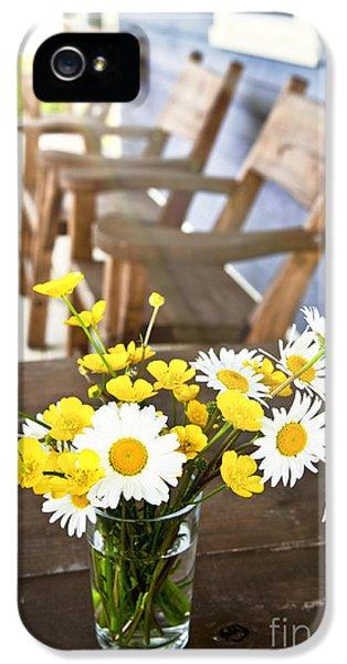 Porch iPhone 5 Cases - Wildflowers bouquet at cottage iPhone 5 Case by Elena Elisseeva