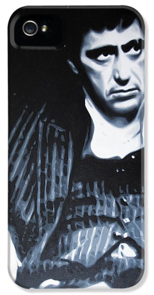 American Crime Film iPhone 5 Cases - - Scarface - iPhone 5 Case by Luis Ludzska