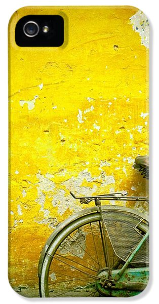 Vietnam Wall iPhone 5 Cases - A Bike Leaning Against A Wall iPhone 5 Case by David DuChemin