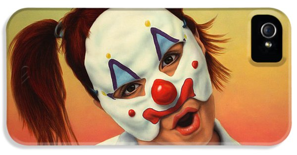 Mask iPhone 5 Cases - A clown in my backyard iPhone 5 Case by James W Johnson
