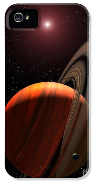 Circling iPhone 5 Cases - A Gas Giant Planet Orbiting A Red Dwarf iPhone 5 Case by Stocktrek Images