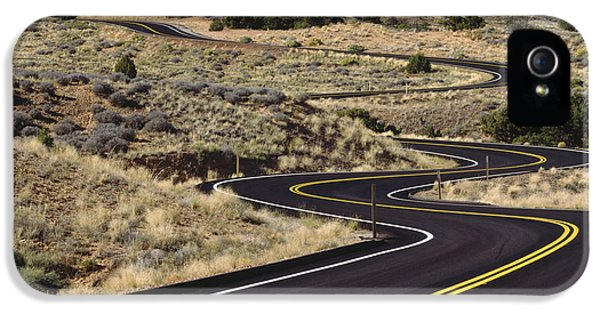 Road iPhone 5 Cases - A Newly Paved Winding Road Up A Slight iPhone 5 Case by Greg Probst