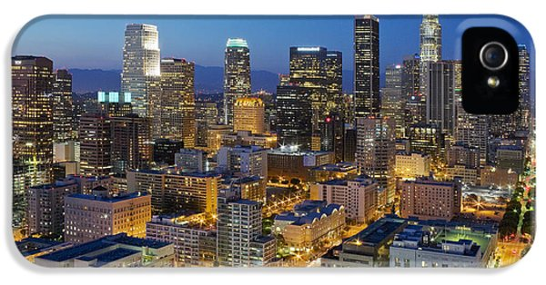 City Scenes iPhone 5 Cases - A night in L A iPhone 5 Case by Kelley King