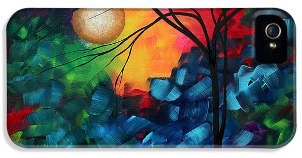 Whimsy iPhone 5 Cases - Abstract Landscape Bold Colorful Painting iPhone 5 Case by Megan Duncanson